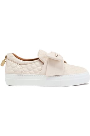 BUSCEMI Bow-detailed quilted leather slip-on sneakers