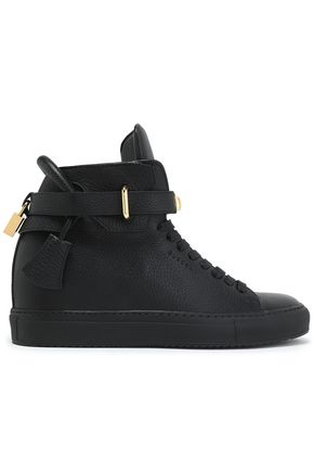BUSCEMI Embellished pebbled-leather high-top wedge sneakers