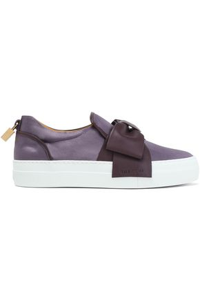 BUSCEMI Suede bow-embellished leather sneakers