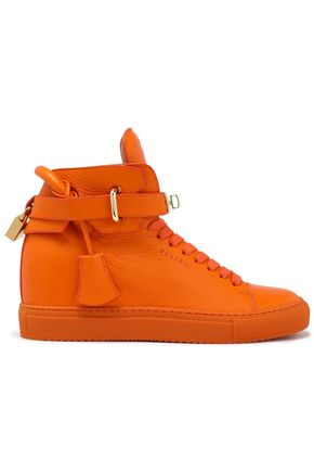 BUSCEMI Embellished croc-effect leather high-top sneakers