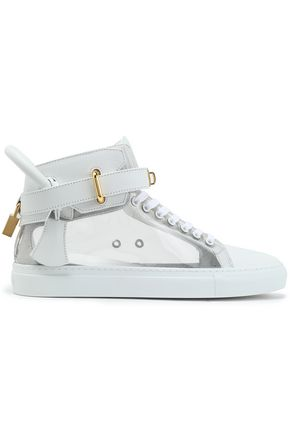BUSCEMI Embellished paneled two-tone leather sneakers