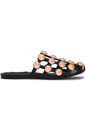 Woman Amelia Studded Cutout Leather Slippers Black