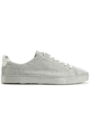 SCHUTZ Glittered leather low-top sneakers