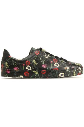SCHUTZ Floral-print leather sneakers