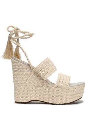 SCHUTZ Lace-up shirred crochet platform wedge sandals