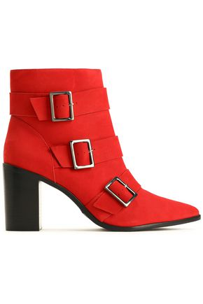 SCHUTZ Buckle-detailed suede ankle boots