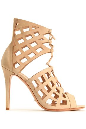 SCHUTZ Lace-up laser-cut leather sandals