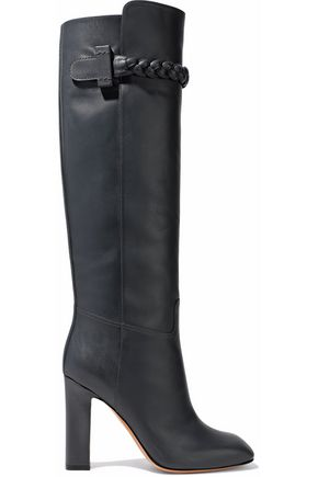 VALENTINO Braided leather knee boots