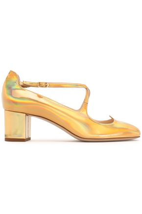 CAMILLA ELPHICK Iridescent metallic leather pumps