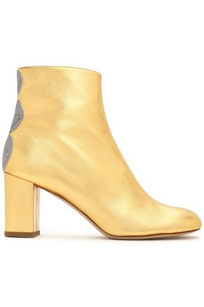CAMILLA ELPHICK Embellished metallic leather ankle boots