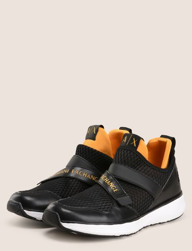 CROSS-STRAP MESH SNEAKERS
