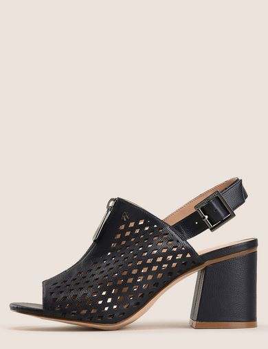 DIAMOND PERFORATED ZIP-UP SANDAL