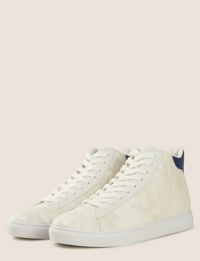 SNAKE-EMBOSSED HIGH-TOP SNEAKERS
