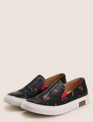 MIXED FLORAL SLIP-ON SNEAKERS