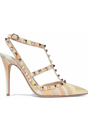 VALENTINO Rockstud printed leather pumps