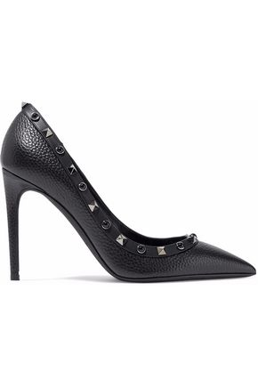 VALENTINO Rockstud pebbled-leather pumps