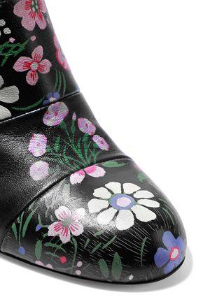 VALENTINO GARAVANI Paneled floral-print leather ankle boots