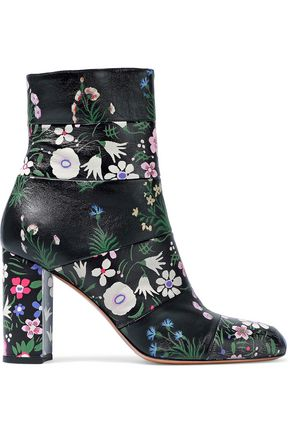 VALENTINO Paneled floral-print leather ankle boots