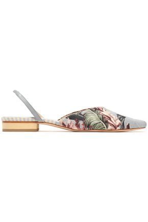 ZIMMERMANN Floral-print canvas point-toe flats