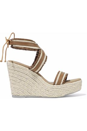 MANEBÍ Fringed leather espadrille wedge sandals