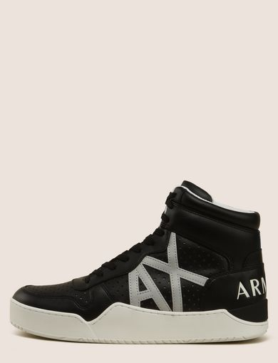 PERFORATED LOGO HIGH-TOP SNEAKERS