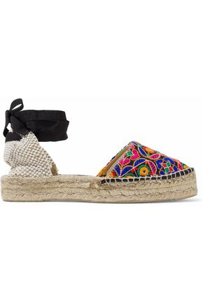 MANEBÍ Basketweave and embroidered canvas espadrilles