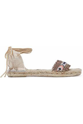 MANEBÍ Fringed embroidered suede espadrille sandals