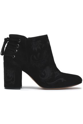 RACHEL ZOE Lace-up suede ankle boots