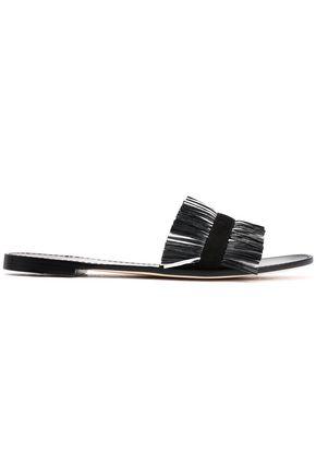 DIANE VON FURSTENBERG Suede-trrimmed raffia sandals