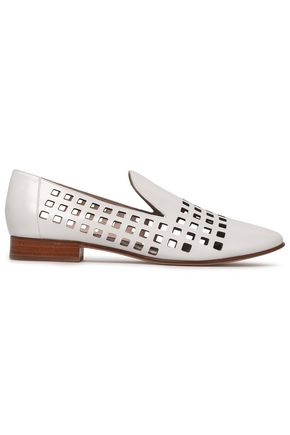 DIANE VON FURSTENBERG Laser-cut leather loafers