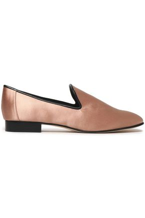 DIANE VON FURSTENBERG Leather-trimmed satin loafers