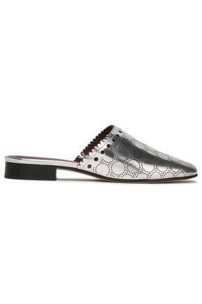DIANE VON FURSTENBERG Laser-cut metallic leather mules