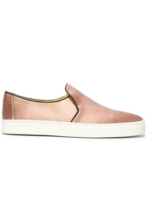 DIANE VON FURSTENBERG Leather-trimmed satin slip-on sneakers
