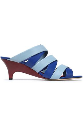 DIANE VON FURSTENBERG Two-tone leather wedge sandals