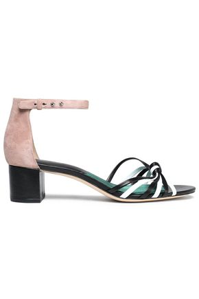 DIANE VON FURSTENBERG Knotted color-block leather and suede sandals
