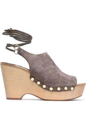DIANE VON FURSTENBERG Studded suede platform wedge sandals