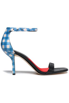 DIANE VON FURSTENBERG Suede and gingham leather sandals