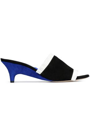 DIANE VON FURSTENBERG Fringed color-block suede wedge sandals