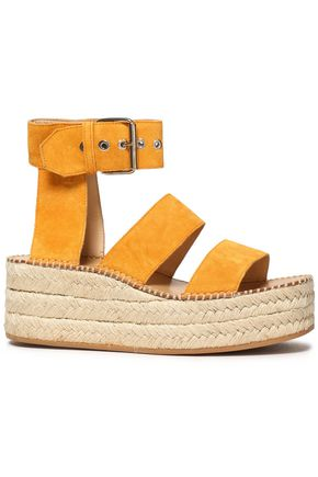 RAG & BONE Tara embroidered suede platform espadrille sandals