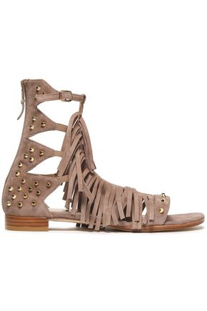 STUART WEITZMAN Gladrags fringed studded suede sandals