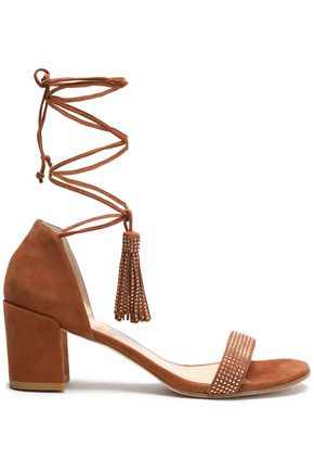 STUART WEITZMAN Lace-up embellished suede sandals