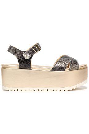STUART WEITZMAN Snake-effect leather platform sandals