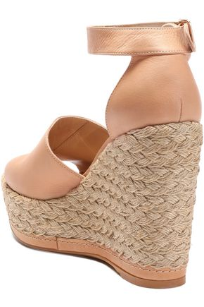 STUART WEITZMAN Soho Jute leather wedge espadrille sandals