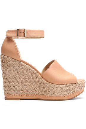 STUART WEITZMAN Soho Jute leather wedge espadrille sandals