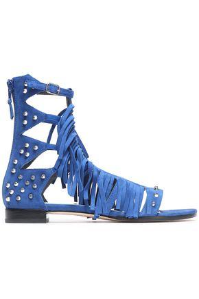 STUART WEITZMAN Fringed studded suede sandals