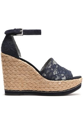 STUART WEITZMAN Suede-trimmed corded lace wedge espadrille sandals