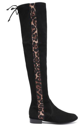 STUART WEITZMAN Lace-up leopard print-paneled suede over-the-knee boots