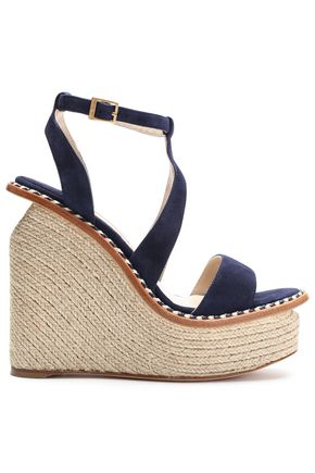 PALOMA BARCELÓ Braided leather-trimmed suede platform wedge sandals