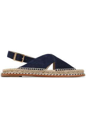 5d99ec1ba4a PALOMA BARCELÓ Braided leather-trimmed suede sandals