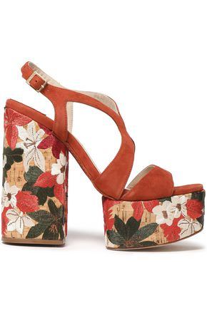 PALOMA BARCELÓ Suede and embroidered cork platform sandals